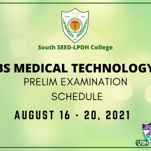 BS Medical Technology Examination Schedule