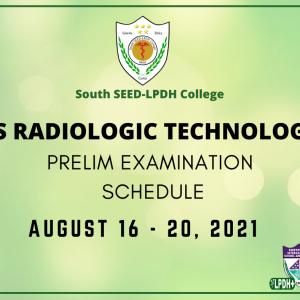 BS Radiologic Technology Prelim Examination Schedule