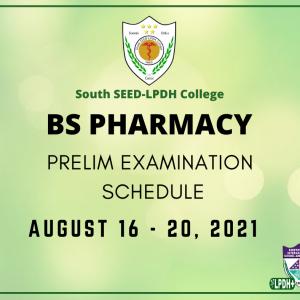 BS Pharmacy Prelim Examination Schedule