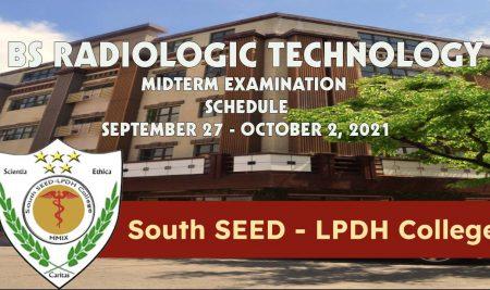 BS Radiologic Technology Midterm Examination Schedule